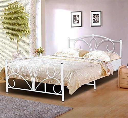 popamazing modern 4ft6 double metal bed frame white queen size double bed frames steel no description