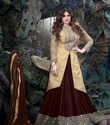 Buy Brown silk embroidered  lehenga-choli lehenga-choli online
