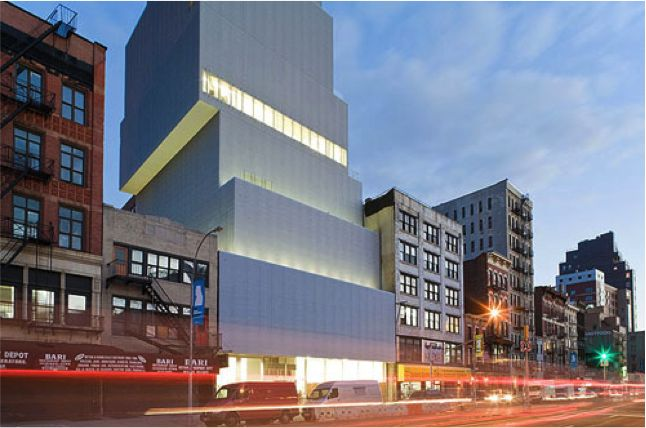 project:		NEW MUSEUM Location:		New York,USA	 designer:		SANAA date:		2008 		Aluminium Mesh