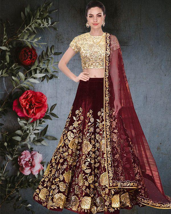A.R.Sundaram Fashion Women's Taffeta Silk Velvet Lehenga Choli (ARS-81_Maroon_Free size_semi stitched 10