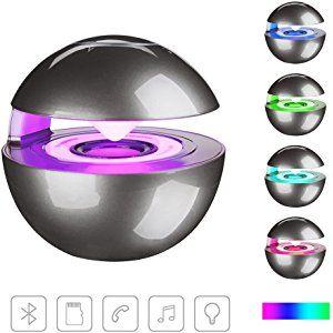 ポータブルブルートゥーススピーカー KIROBO ワイヤレスステレオスピーカー ハンズフリー通話 TFカード スマートフォンMP3 / MP4プレーヤー タブレット PCラップトップのオーディオ音声出力 七色ライト LEDライト付き gray