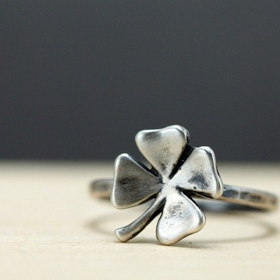 Lucky Four Leaf Clover Sterling Silver Ring  @gayla