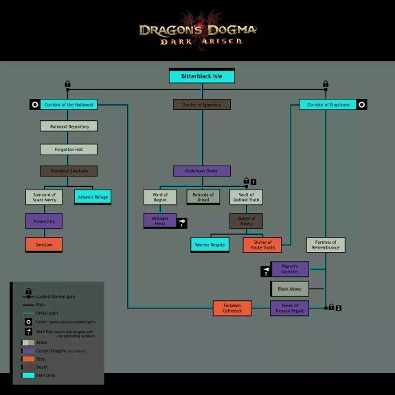 Bitterblack Isle progression map for the game Dark Arisen. Source: Dragon's Dogma wiki