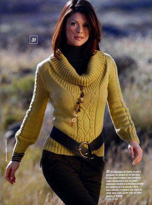 Вязаный свитер аранами