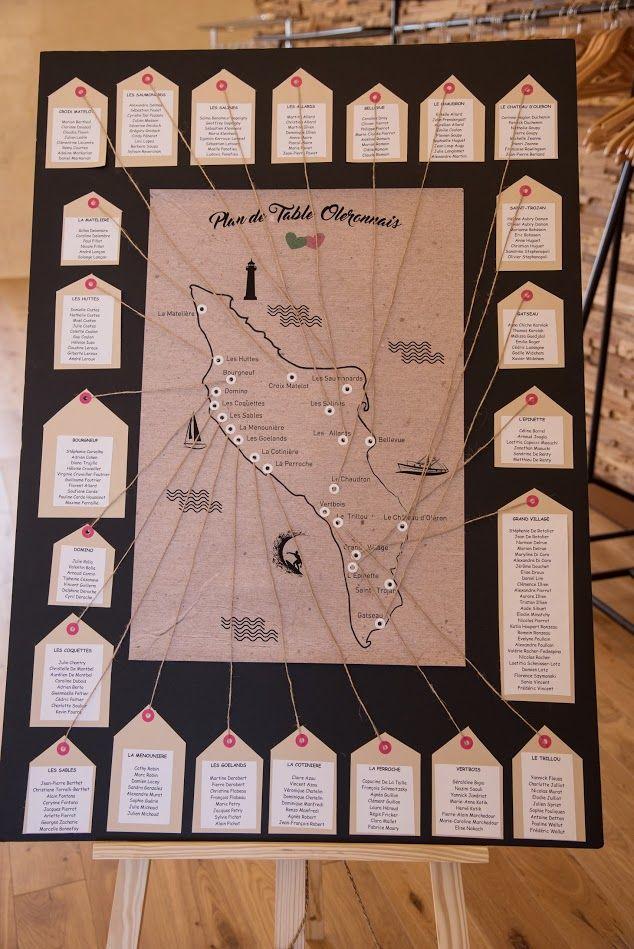 Plan de table champêtre, sur le thème d'Oléron ! Inspiration pour des futurs mariés ? Réalisé en DIY, facile à faire !