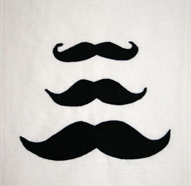 "BOW & ARROW Felt on linen.  Moustaches! Available framed or unframed. ""Happy Movember"""