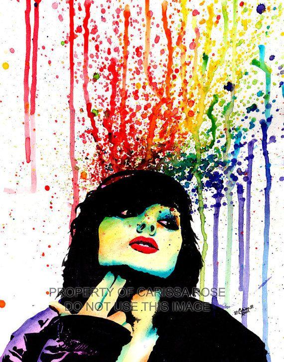 punk rock art   Edgy Punk Rock Rainbow Pop Art Portrait Wall Art Print - Don't Drink ...