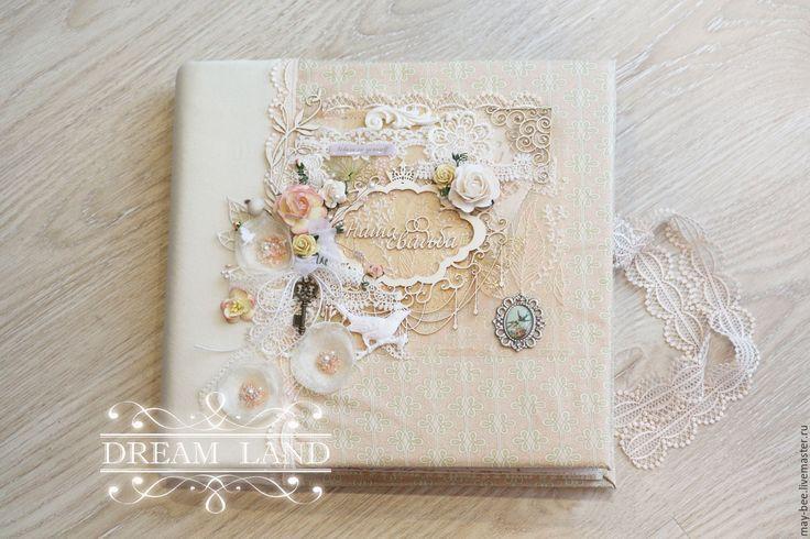 Купить Свадебный фотоальбом Пудровый - бежевый, фотоальбом, фотоальбом ручной работы, свадьба, свадебный подарок