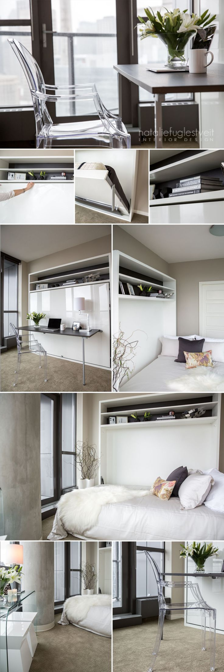 Condo bedroom office with murphy bed by calgary interior for Murphy bed interior design
