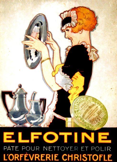 Affiche Elfotine Pâte pour L'Argenterie Christofle - France - 1930 - Carton Publicitaire, illustration de  René Vincent -