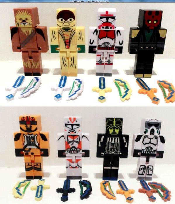 24 stks/partij juguetes minecraft star wars blok toys figuur lot 2015 nieuwe minecraft serie 3 zwaard zombie steve pikhouweel speelgoed set