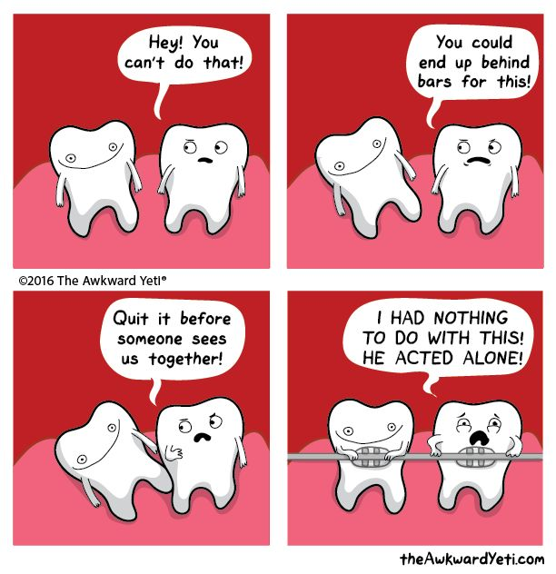 Collective responsibility tooth, comic, funny, awkward yeti