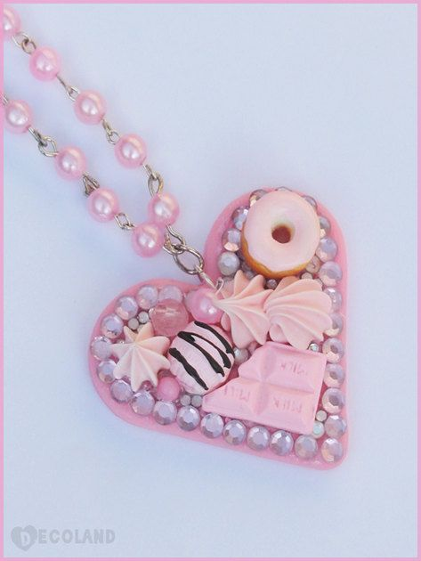 Light pink Decoden style necklace by Decolandjw on Etsy, £13.00