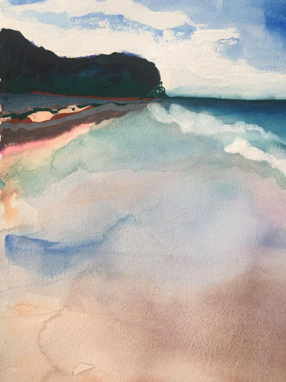 Australian Beach Painting Made With Gouache And Watercolour On Paper Beach Landscape Watercolor Landscape Paintings Beach Painting