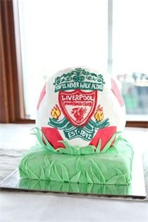 Liverpool Soccer ball cake! Great Grooms cake idea. For al-but chelsea