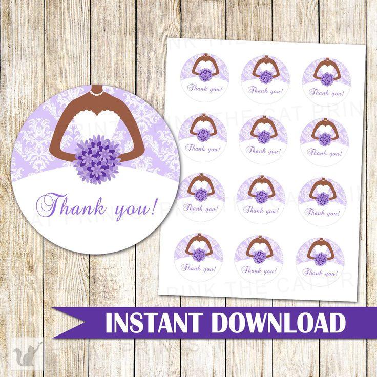 Bridal Shower Gift Label Favor Sticker Tag Lavender Dress Printable – Pink The Cat