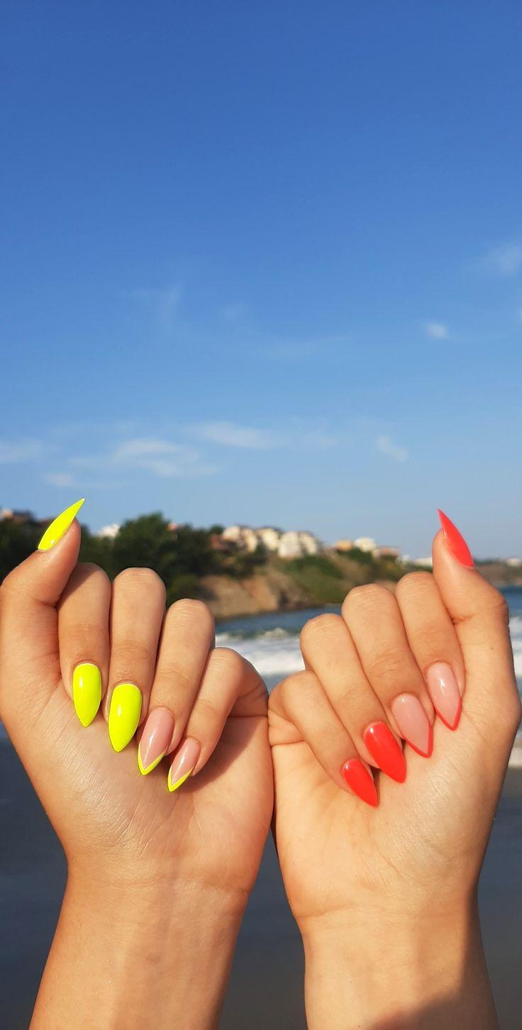Pink Summer Nails, Pink Nails, Yellow Nail Art, Neon Yellow, Claws, Acrylic Nails, Goal, Friendship, Bullet Journal