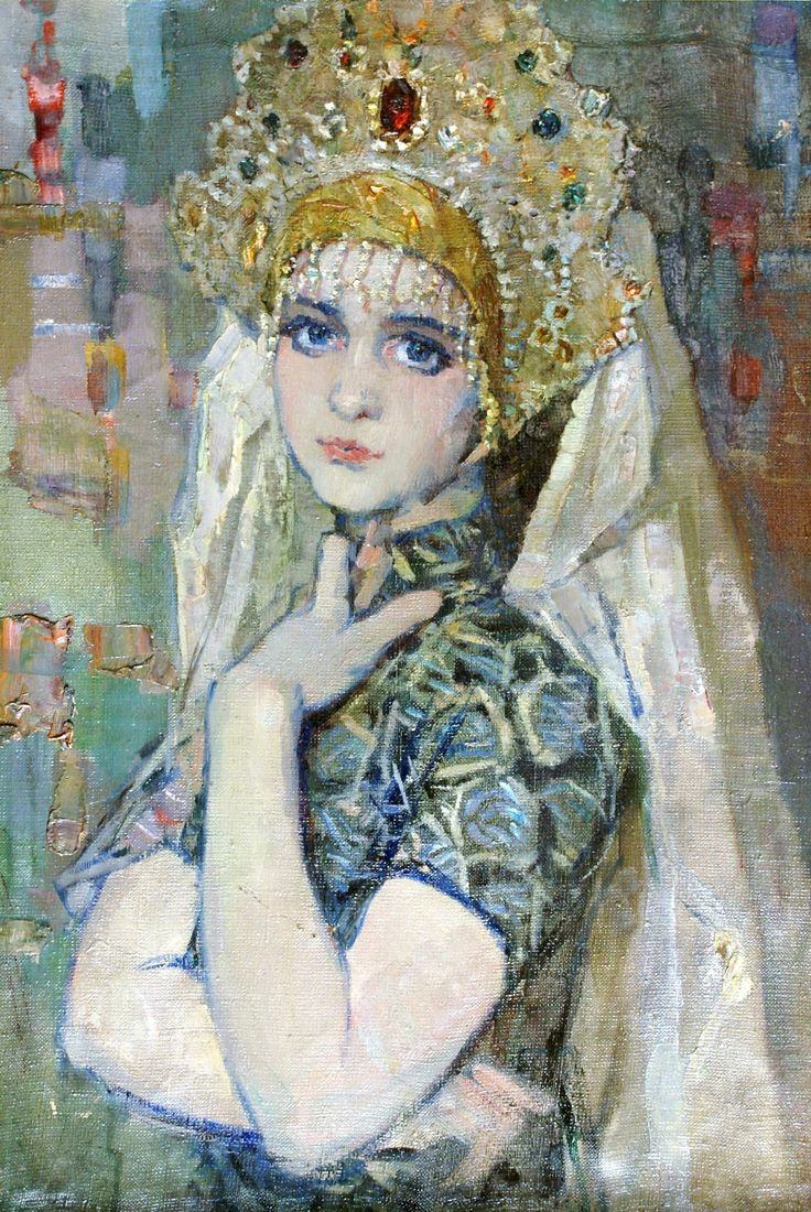 Russian costume in painting. Pavel Fyodorovich Shardakov (1929 – 2007). Girl in Kokoshnik. Painted étude. 1958.