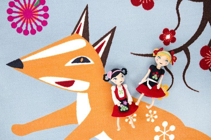 Vallila & Mimmit collection: Kotipiha, blue rug. Design Meri Mort & Vallila Design Studio
