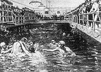 """WATER POLO: US matches were rough. Water polo was contested at the 1900 and 1904 Olympics, but not by everyone. The games used the US rules, and that was too violent for some countries, so many did not take part in the event. 1900 - Men's water polo was added to the Olympics and it has been an Olympic event ever since. 1904 - Only US teams played as the matches used US rules. Other teams refused to play that violent form of the game. 1908 - Rules made the event """"more civilized."""""""
