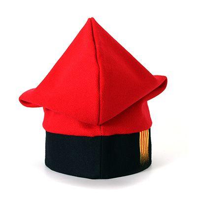 Barretina tradicional catalana vermella de panyo, amb senyera pintada a mà - Art de la terra - artdelaterra.cat - Productes artesanals amb identitat catalana - Decoració - Joies - Roba i complements - Regals