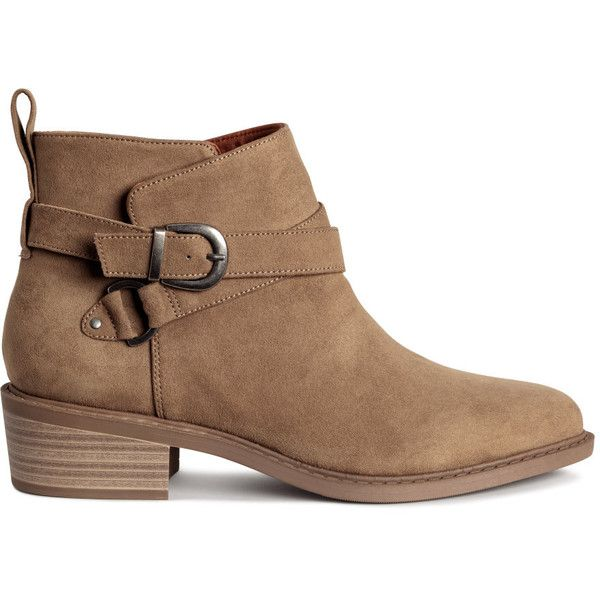 Ankle Boots $49.99 ($50) ❤ liked on Polyvore featuring shoes, boots, ankle booties, ankle boot, h&m, strap boots, short boots, beige boots, strappy booties and embellished boots