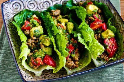 Turkey lettuce wrap tacos with avocado salsa