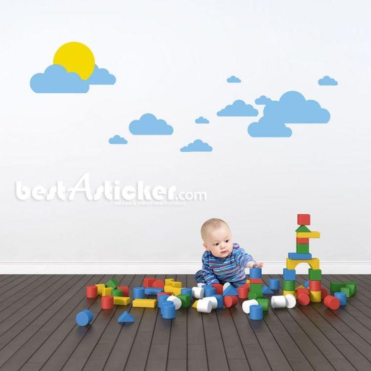 Mavi Bulutlar Güneş Bebek Ve Çocuk Odası Duvar Sticker  Fiyat: 54 TL
