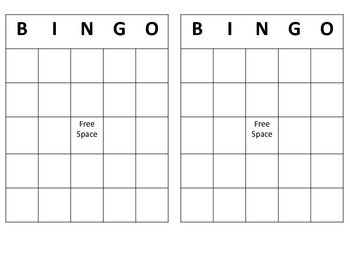 Free bingo template to be used as a reinforcement or specific words could be placed in each square to target various goals.
