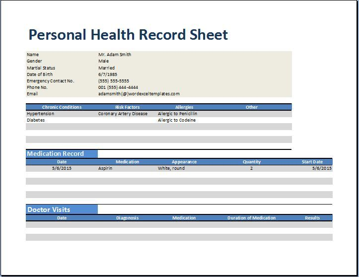 PERSONAL FAMILY MEDICAL HEALTH RECORD WORKSHEET EXCEL Execl - health history template
