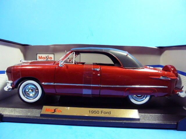MAISTO 1950 FORD CONVERTIBLE WINE RED SPECIAL EDITION 1/18 SCALE DIECAST CAR #Maisto #Ford