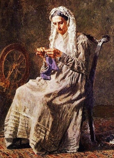 Thomas Eakins (American painter, 1844-1916)   'Knitting Seventy Years Ago'