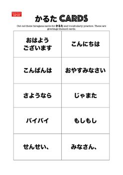 Sensei-tional Classrooms presents Japanese Karuta Vocabulary Mini Flashcards: Greetings.Use these for class sets of  cards or to give to students for them to have as vocabulary revision. These set of greetings themed cards have a set of  only cards and a near-identical set supported with roomaji + .