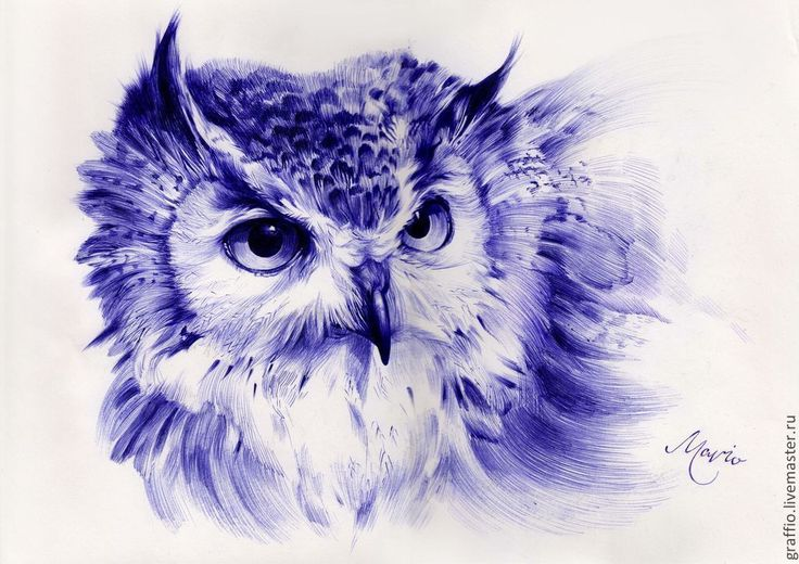 Купить Хранитель снов - графика, сова, синий цвет, марина комадей, картина, картина для интерьера