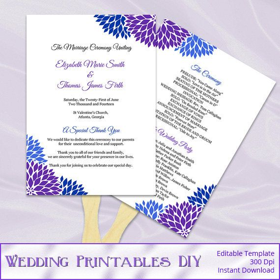 Royal Blue And Purple Wedding Program Fans By Weddingprintablesdiy 8 00