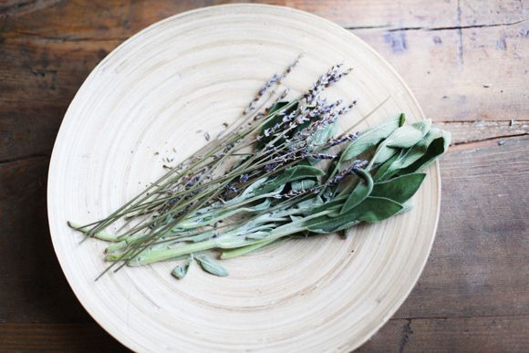 Lavender and sage room spray: filling up a metal spray bottle 3/4 with distilled water, then almost to the top with witch hazel. I then add about 30-50 drops of essential oil