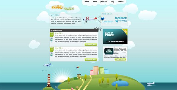 Island Vacation XHTML travel template