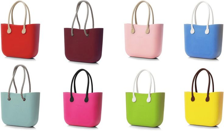 display of O bags with various handles