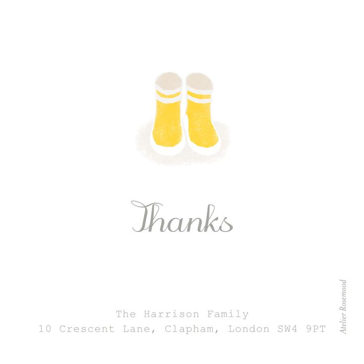 Celebrate the arrival of your new baby with our Wellies Photo thank you cards! Designed by Tomoë, these cards feature adorable wellie boots that your friends and family will imagine on your little one's feet. #babythankyoucards #welliesbabycards #personalisedbabystationery