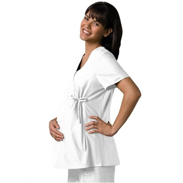 Cherokee Maternity Scrub Top in White. The Cherokee Maternity Scrub Top is the perfect choice for any mum to be. It has a longer front panel than normal scrub tops to cover the bump, an empire drawstring waist which flatters the stomach and stretchy side panels for movement. £29.99  #medicalscrubs #nursescrubs #dentistscrubs #nurses #dentists #whitescrubs #nurseuniform