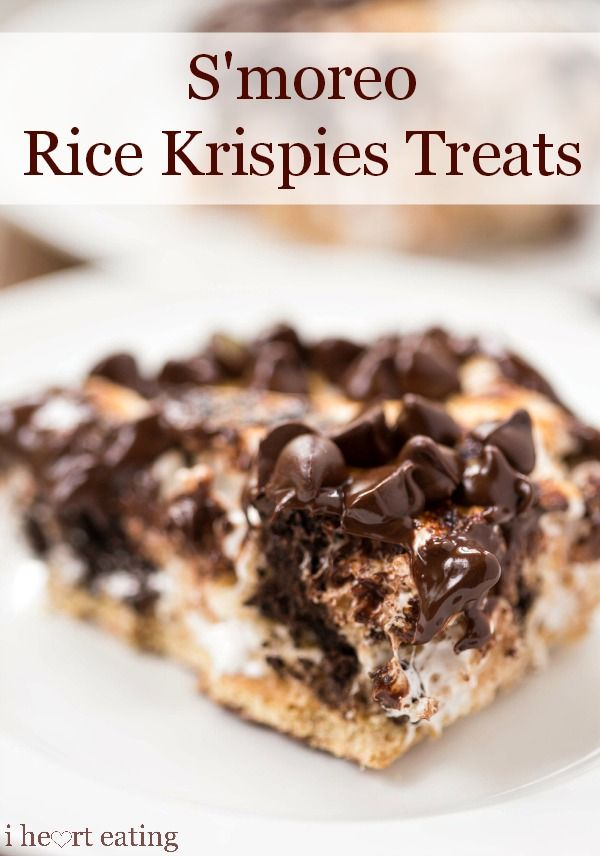 Rice krispies treats full of marshmallow, melty chocolate, and Oreo cookies.