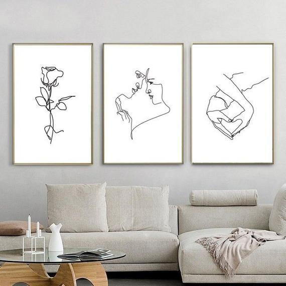 Line Illustration Couple Art Set Of Three Prints Line Drawing Etsy Romantic Wall Art Printable Wall Art 3 Piece Wall Art