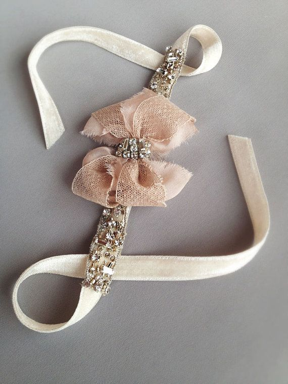 Blush Antique Lace Rhinestone Bow Cuff with Jeweled by EmiciBridal, $80.00