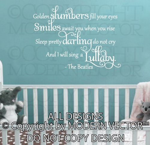 Golden Slumbers Lullaby | ... Vinyl Wall Decal Lettering Golden Slumbers Nursery Baby Decor | eBay