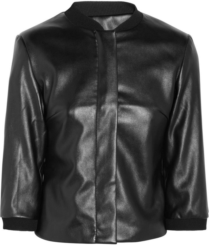 $103, Black Leather Bomber Jacket: Joss Faux Leather Bomber Jacket by Karl Lagerfeld. Sold by theOutnet. Click for more info: http://lookastic.com/women/shop_items/209939/redirect