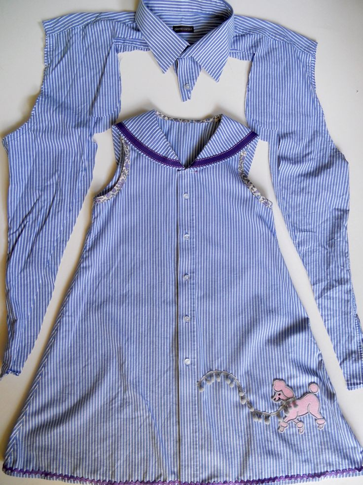 #refashioned mans #shirt sewnbyangela: A Girl's Dress with Ribbon Sailor Collar