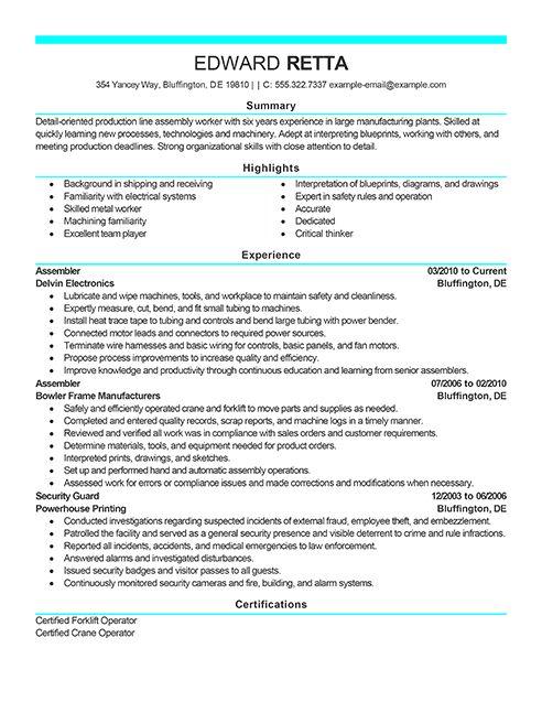 Assembly Position Resume Sample - Vosvete.Net