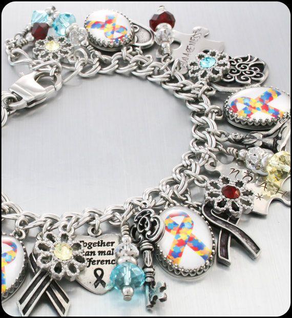 Charm Bracelet Autism Awareness Jewelry by BlackberryDesigns, $123.00
