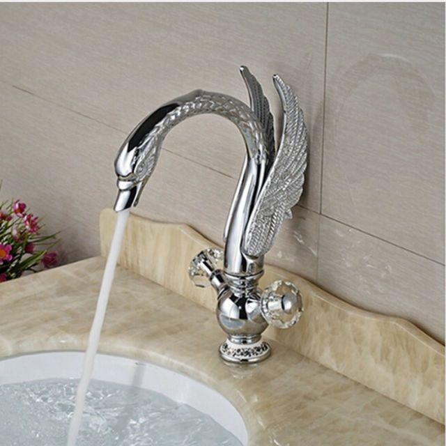 Chrome Brass Bathroom Faucet Crystal Handles Animal Swan Mixer Tap
