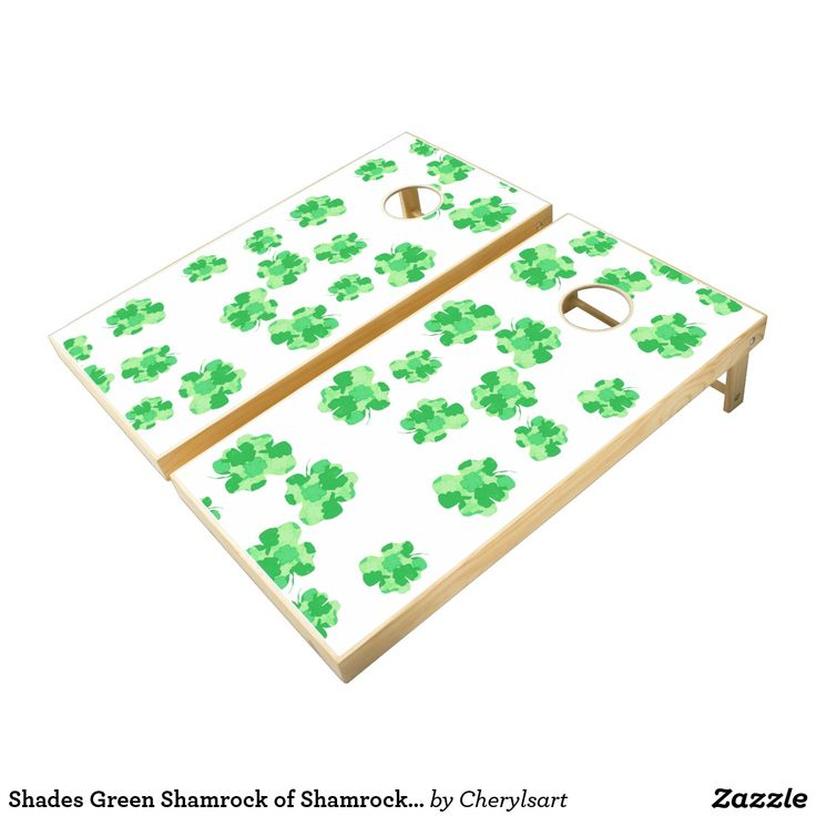 Shades of Green - Shamrock of Shamrocks - Corn Toss Game - Have some extra fun at your shamrock, Irish, themed parties with this cornhole toss game. This fun design was created by artist, Cheryl Paton. You can find more of her artwork on products at CherylsArt on Zazzle. #games #cornholeboards #cherylsart